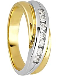 Diamond Line Damen-Ring 585er Gold 7 Diamanten ca. 0,25 ct., gelbgold