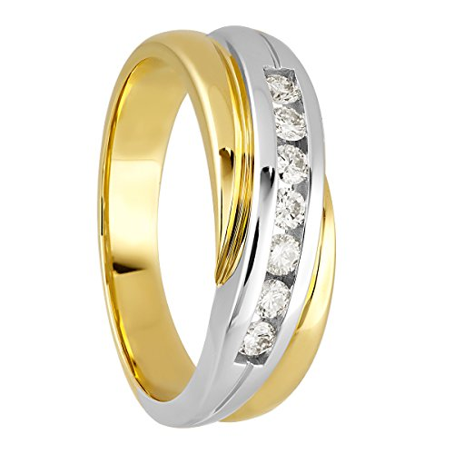 Diamond Line Damen - Ring 585er Gold 7 Diamanten ca. 0,25 ct., gelbgold (Diamant-ring Gelb-gold)