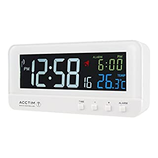 Acctim Rialto Stylish Radio Controlled Alarm Clock Displaying Time Alarm Time/Date and Indoor Temperature