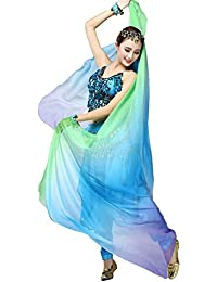 Moresave para mujer chal de danza del vientre, velo de gasa danza accesorios 220cmx 120cm, mujer, Green+Blue+Purple