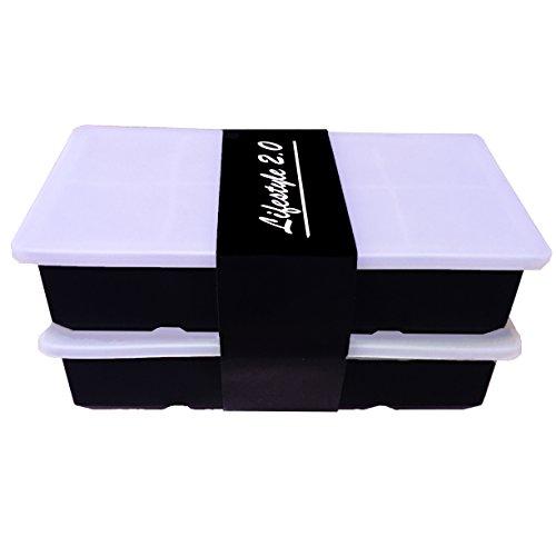 Eiswürfelform Mit Deckel Aus Silikon Eiswürfelbehälter 2er Pack BPA-Frei Für 16 Große XXL Eiswürfel (5cm) [UPDATED]