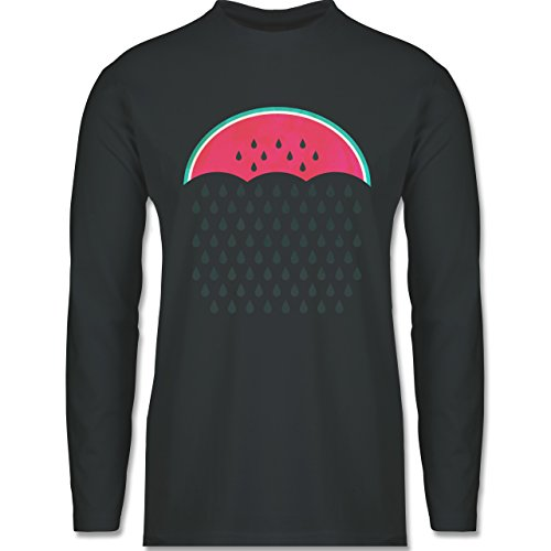 Shirtracer Statement Shirts - Watermelon Rain - Herren Langarmshirt Dunkelgrau