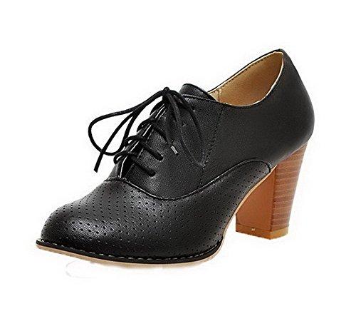 Cuero Alto Sólido Mujeres Zapatos Tacón De Cordones Negro nqwFYSqT