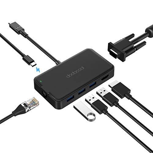 dodocool USB C Hub, 7 in 1 USB Typ-C Adapter mit Gigabit Ethernet, 4K HDMI Anschluss, USB-C Ladeanschluss, VGA, 3 USB 3.0 Ports für MacBook Pro/MacBook/Google Chromebook und andere Typ-C Geräte