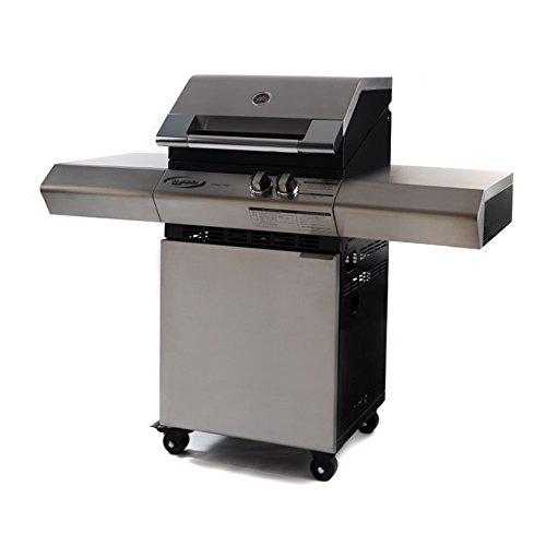 Dolcevita bbq Barbecue TURBO ELITE 2 avec chariot et plaque de quartz RQT, grilles en acier inoxydable et plan de cuisson