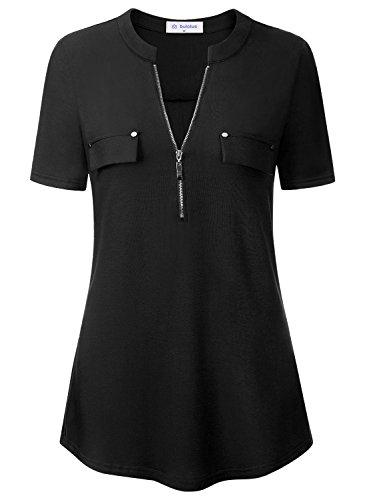 Bulotus Damen Blusen Tunika mit Reißverschluss V-Ausschnitt Ärmel Verstellbar Oberteile Bluse Tops(Schwarz S)