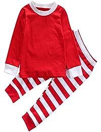 MIOIM® 2pcs Conjuntos de Tops y Pantalones Largo Para Bebé Niños Niñas Trajes A Rayas Navidad Pijamas De Dormir ,Color Rojo