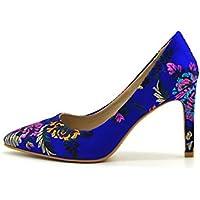 Primavera Nueva Flor Estilo étnico Zapatos de Mujer Boca Baja Moda Zapatos de tacón Alto de la Mujer Fina con Punteado cómodos Zapatos Individuales de Mujer Salvaje XIAOQI