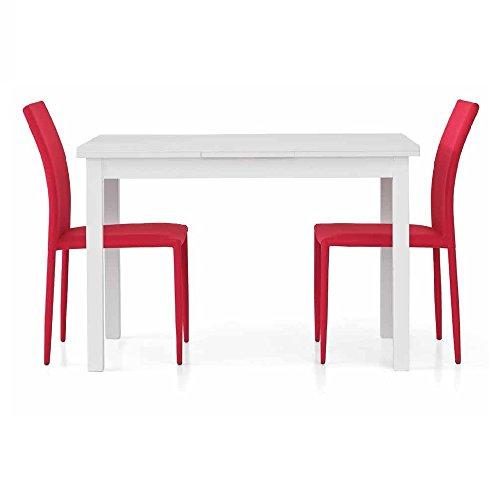 InHouse srls Table Extensible Blanc Pore Ouvert comportant 2 rallonges DE 40 cm, Style Moderne, en MDF laminé et Structure en Acier - Dim. 110 x 70 x 75