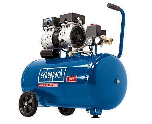Scheppach Flüster Kompressor HC50Si (60 dB, 50 L, 8 bar, 750 Watt, Ansaugleistung 170L/min, ölfrei) Silent und Leise-Kompressor