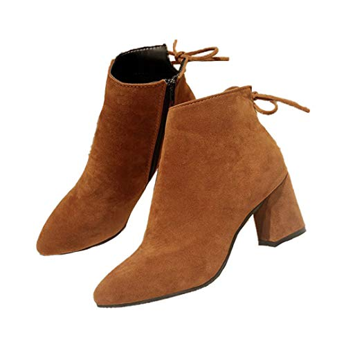 Damen-Stiefel High Heels Mode Heel Fest Farbe Zipper Short Boots