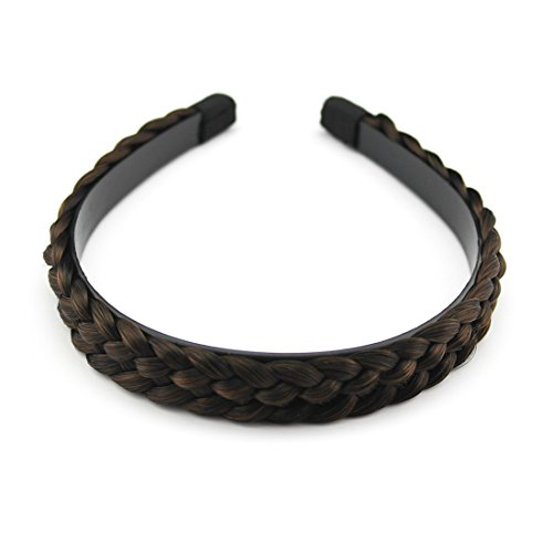 Chunky Synthetic Hair Braided Plaited Hair Extensions Headband (0620 Mixed Golden&Brown-T4/12) (Wirklich Günstige Perücken)