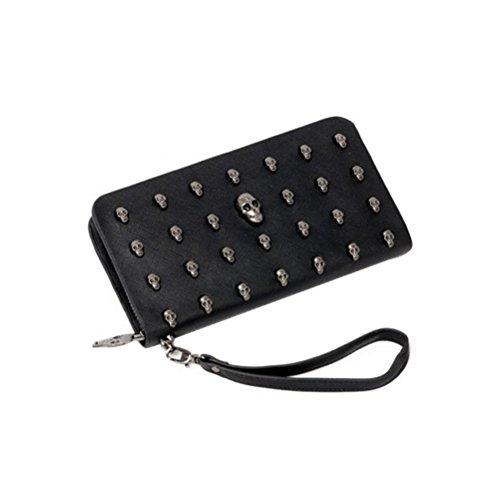 Pixnor donne teschio con cerniera pu portafoglio lungo con pochette - nero