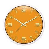 ZDD Wohnzimmer Schlafzimmer Wanduhr stumm große Flip-Chart dekorative Uhr (Farbe : Orange, größe : Ø.35.5cm(ø14in))