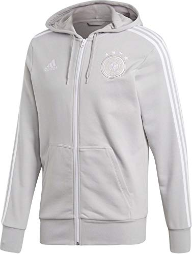 adidas Herren DFB 3 Stripes Full Zip Hoody Kapuzenjacke, Grey Two f17/White, S 3 Zip Hoody