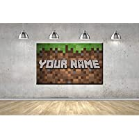 Mine Gamer Pixels Floss Men Any Name Named Tag Childrens Personalised Creeper Gaming Theme Framed Ready To Hang Canvas Photo Wall Art Picture Home Decor Poster 5 Sizes