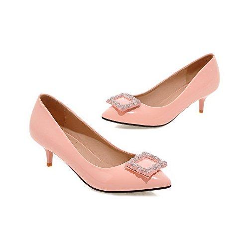 VogueZone009 Femme Pu Cuir Mosaïque Tire Fermeture D'Orteil Pointu à Talon Correct Chaussures Légeres Rose