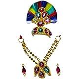 The Holy Mart Gopal Mukut Mala Earing Set Sringar Set/Jewellary Set (1 Size)