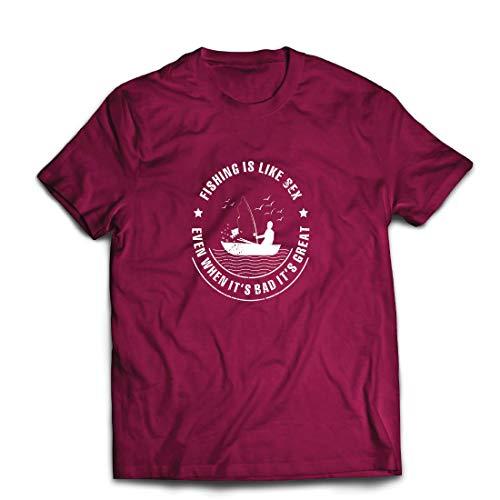 lepni.me Männer T-Shirt Fischen ist großartig, lustige Hobbykleidung für Fischliebhaber (Large Burgund Mehrfarben)