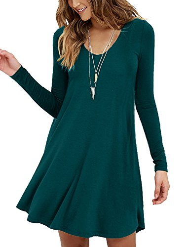VIISHOW Women's Long Sleeved Casual Swing T-shirt Dresses (Dark green S)