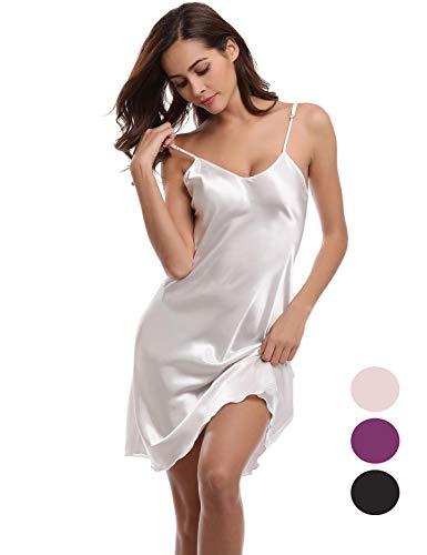 Abollria Damen Nachthemd Sexy Negligee Frau Sommer Nachtwäsche Satin Kleid Lingerie Klassische Bequem Nachtkleid V Ausschnitt Sleepwear Unterwäsche ()