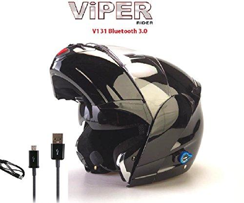 Viper Casco de la motocicleta V131-Plus Bluetooth Casco compite con el casco Negro Brillante XL