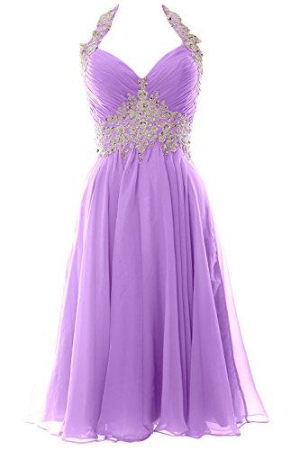 MACloth Women Halter Short V Neck Lace Wedding Cocktail Party Guest Dress (EU58, Lavender) (Lace Kleid Lavender)