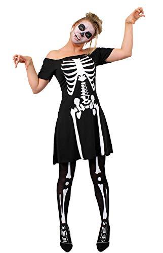 Damen Skelett Kostüm Plus Strümpfe Halloween Fancy Kleid BONE PRINT Damen Outfit S-XL