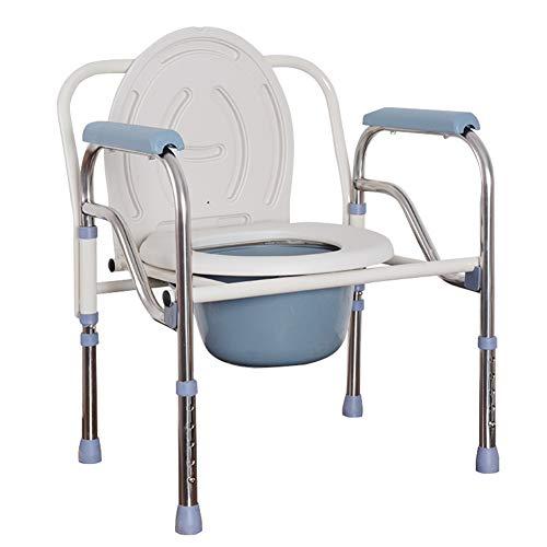 Gxnimer Folding Bedside Kommode Stuhl - Edelstahl Elderly WC Stuhl mit Kommode Eimer höhenverstellbare Toilette Hocker für Schwangere Frauen und behinderte Badezimmer Schlafzimmer