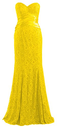 MACloth Women Mermaid Strapless Lace Evening Gown Wedding Party Formal Dress Gelb