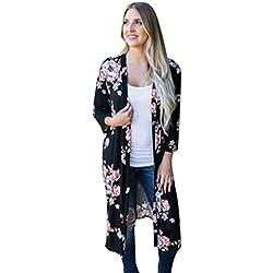 Impresión Bohemia Cárdigans Para Mujer, LILICAT Otoño Kimono Largo, Mantón de Gran Tamaño (3XL, Negro)
