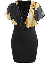 TIMEMEAN Modo delle Donne Plus Size Casual Stampa Floreale in Chiffon con  Scollo A V Vestitino Increspature 9bc0d7cb013