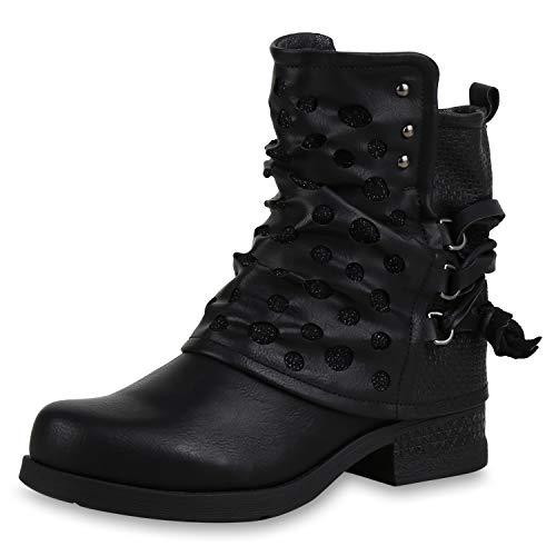 SCARPE VITA Damen Stiefeletten Biker Boots Leicht Gefütterte Schuhe Glitzer 169165 Schwarz Leicht Gefüttert 37