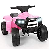 BAKAJI Quad Elettrico per Bambini Cavalcabile 6V Mini Moto Elettrica con 4 Ruote e Luci Fari Funzionanti Dimensioni 65 x 42 x 53 cm (Rosa)