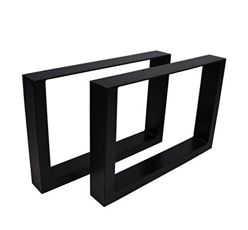 Magnetic Mobel 2X Tischgestell Rohstahl Design Industrielook Tischbeine Tischuntergestell Metall Stahl schwarz (600x400 (Couchtisch))