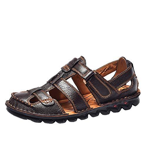 Aoogo Sommer Herren Leder Sandalen Wohnungen Strand Wandern rutschfeste Soft Bottom Freizeitschuhe Bequeme Sandalen Schuhe mit der Einlage Aus Echtem Hausschuhe -
