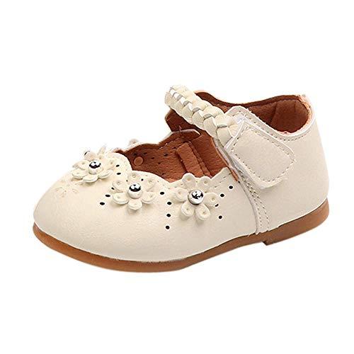 CixNy Mädchen Kinderschuhe Tanzschuhe Kleinkind Einzelne Schuhe Sommer Süß Mädchen Kristall Weich Unterseite Hohl Spitze Schuhe Lederschuhe Lauflernschuhe Prinzessin Schuhe Shoes Beige ()
