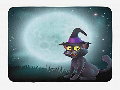 VTXWL Witch Bath Mat, Halloween Witch Cat in a Pointy Hat in Front of a Big Full Moon on a Misty Night, Plush Bathroom Decor Mat with Non Slip Backing, 23.6 W X 15.7 W Inches, Multicolor