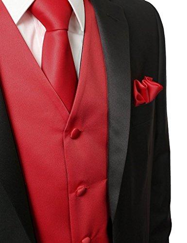Suit Me Uomo Panciotto Gilet 5 pulsanti di nozze vestiti della maglia 3 pezzi con cravatta fazzoletto Rosso