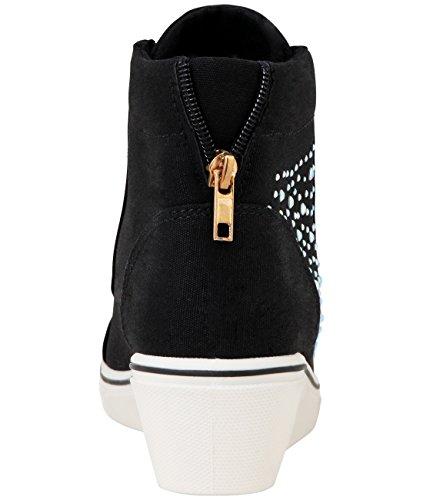 KRISP Femme Baskets Compensées Imprimées Tendance Fashion Différents Modèles Noir (16294)