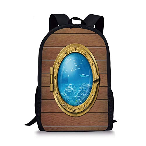 School Bags Shark,Submarine Chamber Window with A View of Coral Reef Swimming Fishes Print,Light Caramel Blue Gold for Boys&Girls Mens Sport Daypack -