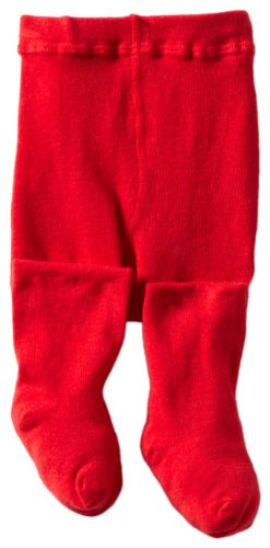 Jefferies Socks Baby Girls' Seamless Organic Cotton Tights, Red, 18 24 Months
