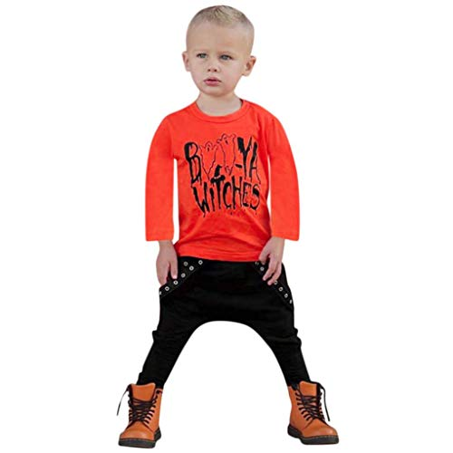 Kinderkleidung Anzug, Kleinkind Outfits Baby Brief Jungen Outfits Tops Brief Drucken T Shirt + Hosen Halloween Kleidung Sets Moginp (110, ORANGE) (Orange Halloween Overalls)