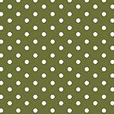 Baumwollstoff Punkte Olive Webware Meterware Popeline