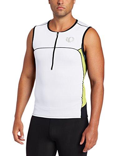 Pearl Izumi Herren Elite InRCool Tri Sleeveless Jersey Medium White/Blazing Yellow (Sleeveless Elite Jersey)