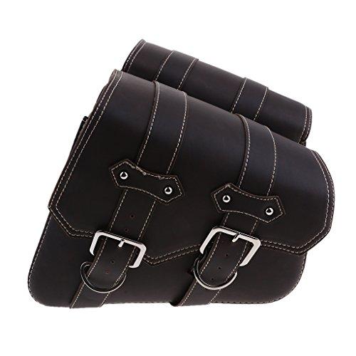 Preisvergleich Produktbild IPOTCH 2 Stücke Motorrad Satteltaschen PU-Leder-Rücksitz-Satteltasche Kofferraum Reisetasche Seitentasche - Dunkelbraune Doppelschnallen