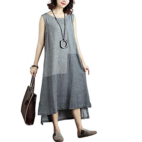 FeiXing158 2019 Sommer Frauen Sleeveless Elegantes Kleid Patchwork Casual Robe Femme unregelmäßige Party Kleider Plus größe 5XL Damen Steel Toe Slip