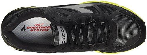 Diadora N-4100-2 Win Bright, Chaussures De Course À Pied Pour Homme Noir (noir / Argent / Jaune Fl Dd)