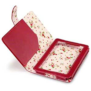 Terrapin PU Leather Folio Case/Cover/Pouch/Holster for Amazon Kindle Fire 7 inch Tablet - Red with Floral Interior