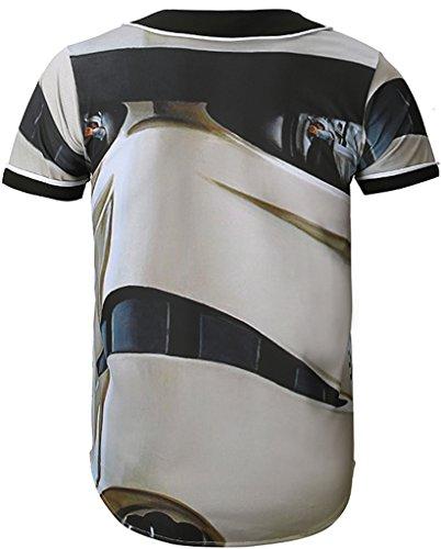 Pizoff Herren Lässig Hip-Hop T-Shirts Tops mit Knöpfen und Bunt Muster Y1724-22